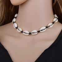 Muschel Halskette, mit Verlängerungskettchen von 100mm, handgefertigt & für Frau, beige, 1.90mm, verkauft per ca. 13.8 Strang
