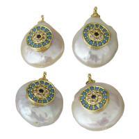 Edelstahl Schmuck Anhänger, mit Perlen, goldfarben plattiert, 12.5-14x17.5-19x8-10mm, Bohrung:ca. 1.5mm, 5PCs/Menge, verkauft von Menge