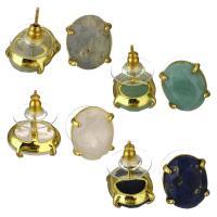 Gemischte Edelstein Anhänger, Messing, mit Edelstein, goldfarben plattiert, für Frau, 11.50x14.50mm, verkauft von Paar