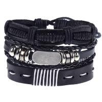 Leder Armband-Set, Armband, mit Lederband & Zinklegierung, plattiert, für den Menschen, schwarz, 60mm, 3PC/setzen, verkauft von setzen