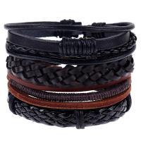 Leder Armband-Set, Armband, mit Lederband, gewebte Muster & für den Menschen, frei von Nickel, Blei & Kadmium, 60mm, 4PC/setzen, verkauft von setzen