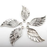Flügel Zinklegierung Anhänger , Flügelform, antik silberfarben plattiert, frei von Nickel, Blei & Kadmium, 21*45mm, Bohrung:ca. 3mm, 2Taschen/Menge, ca. 73PCs/Tasche, verkauft von Menge