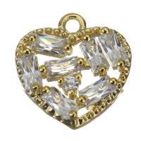 Messing Herz Anhänger, mit kubischem Zirkonia, Goldfarbe, frei von Nickel, Blei & Kadmium, 10x10x2.50mm, Bohrung:ca. 1mm, ca. 50PCs/Menge, verkauft von Menge