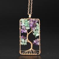 Eisen Halsketten, mit lila Fluorit, plattiert, verschiedene Stile für Wahl & für Frau, frei von Nickel, Blei & Kadmium, 50X30mm, verkauft per ca. 19.6 ZollInch Strang