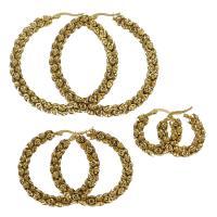 Herren Edelstahl Kreolen, goldfarben plattiert, verschiedene Größen vorhanden & für Frau, 12PaarePärchen/Menge, verkauft von Menge