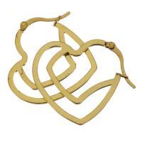 Edelstahl-Hebel zurück-Ohrring, Edelstahl, Herz, goldfarben plattiert, für Frau, 30x35mm, verkauft von Paar