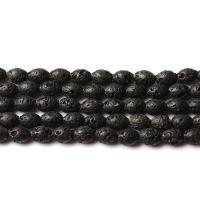Natürliche Lava Perlen, poliert, DIY, schwarz, 12x16mm, ca. 23PCs/Strang, verkauft per ca. 15 ZollInch Strang