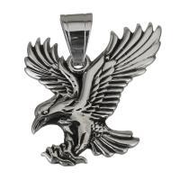 Edelstahl Tieranhänger, Adler, Schwärzen, 30x35x2mm, Bohrung:ca. 7x7.5mm, verkauft von PC
