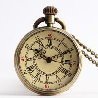 Mode Halskette Uhr, Zinklegierung, mit organisches Glas, Zinklegierung Karabinerverschluss, Bronzefarbe plattiert, unisex, keine, 35mm, verkauft per ca. 31.5 ZollInch Strang