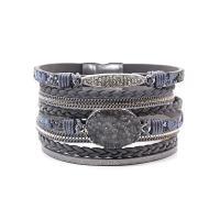 Wrap Armband , PU Leder, mit Magnet, rund, plattiert, mehrschichtig & für Frau, keine, verkauft per ca. 7 ZollInch Strang
