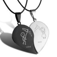 Ehepaar Halskette, Edelstahl, mit Verlängerungskettchen von 5cm, plattiert, für paar, keine, frei von Nickel, Blei & Kadmium, verkauft per 17.1 ZollInch Strang