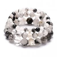 Schwarzer Rutilquarz Armband, plattiert, unisex & verschiedene Größen vorhanden, keine, verkauft per 7.4 ZollInch Strang