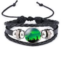 PU Leder Armband, mit organisches Glas & Zinklegierung, plattiert, mehrschichtig & Zeit Edelstein Schmuck & unisex, 18mm, Länge:ca. 10 ZollInch, 10SträngeStrang/Menge, verkauft von Menge