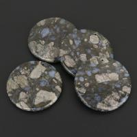 Naturstein Anhänger, flache Runde, gemischte Farben, 50x6mm, Bohrung:ca. 2mm, 10PCs/Menge, verkauft von Menge