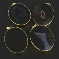 Natürliche Achat Druzy Anhänger, Eisquarz Achat, mit Messing, goldfarben plattiert, druzy Stil, 41x56x7-10mm, Bohrung:ca. 5x7mm, 10PCs/Menge, verkauft von Menge