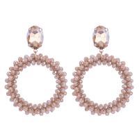 Kristall Tropfen Ohrring, Kreisring, handgemacht, gewebte Muster & für Frau, mehrere Farben vorhanden, 64mm, verkauft von Paar