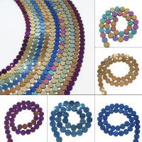 Nicht-magnetische Hämatit Perlen, Non- magnetische Hämatit, flache Runde, plattiert, DIY, keine, 9*4mm, Bohrung:ca. 1mm, 45PC/Strang, verkauft von Strang