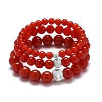 Roter Achat Armbänder, plattiert, unisex & verschiedene Größen vorhanden, keine, verkauft per 7.4 ZollInch Strang
