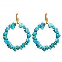 Türkis Tropfen Ohrring, mit Zinklegierung, Kreisring, goldfarben plattiert, für Frau, blau, 45x63mm, verkauft von Paar