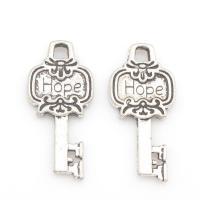 Zinklegierung Schlüssel Anhänger, antik silberfarben plattiert, frei von Nickel, Blei & Kadmium, 30x14x2mm, Bohrung:ca. 4mm, ca. 35PCs/Tasche, verkauft von Tasche