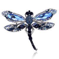 Zinklegierung Broschen, mit Kristall, Libelle, plattiert, für Frau & mit Strass, royalblau, frei von Nickel, Blei & Kadmium, 70x50mm, verkauft von PC