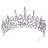 Krone, Zinklegierung, mit Kristall, Platinfarbe platiniert, für Braut & mit Strass, frei von Nickel, Blei & Kadmium, 330*65mm, verkauft von PC