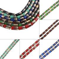 Kristall-Perlen, Kristall, Zylinder, bunte Farbe plattiert, mehrere Farben vorhanden, 10x20mm, Bohrung:ca. 2mm, ca. 17PCs/Strang, verkauft von Strang