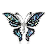 Zinklegierung Broschen, mit Harz, Schmetterling, plattiert, für Frau & mit Strass, Silberfarbe, frei von Nickel, Blei & Kadmium, 37x52mm, verkauft von PC