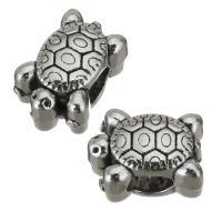 Zinklegierung Großes Loch Perlen, Schildkröter, Emaille, Silberfarbe, frei von Nickel, Blei & Kadmium, 12x9x8.50mm, Bohrung:ca. 4.5mm, 50PCs/Menge, verkauft von Menge