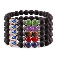 Lava Armband, mit Edelstein & Zinklegierung, unisex & böser Blick- Muster & verschiedene Stile für Wahl, verkauft per ca. 7.5 ZollInch Strang