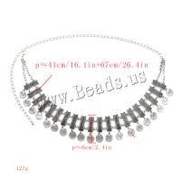 Zinklegierung Taillenkette, für Frau, originale Farbe, frei von Nickel, Blei & Kadmium, Länge:ca. 26.4 ZollInch, verkauft von Paar