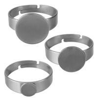 Edelstahl einstellbare Fingerring, verschiedene Größen vorhanden, originale Farbe, Bohrung:ca. 1.5mm, Größe:7, 200PCs/Menge, verkauft von Menge