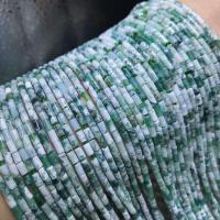 Natürliche Moos Achat Perlen, Zylinder, poliert, DIY, grün, 2x4mm, ca. 95PCs/Strang, verkauft per ca. 15 ZollInch Strang