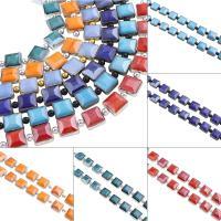 Kristall-Perlen, Kristall, Squaredelle, plattiert, facettierte, mehrere Farben vorhanden, 13x6.5mm, Bohrung:ca. 1mm, ca. 30PCs/Strang, verkauft von Strang