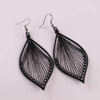 Eisen Tropfen Ohrring, mit Nylon, plattiert, für Frau & hohl, schwarz, 70x40mm, verkauft von Paar