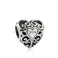 Zink Legierung Perlen Schmuck, Zinklegierung, Herz, DIY, keine, frei von Nickel, Blei & Kadmium, 12x12x17mm, ca. 20PCs/Tasche, verkauft von Tasche