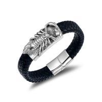 Titanstahl Armband, mit PU Leder, Skorpion, Konstellation Schmuck & für den Menschen, 19.2mmx12mm, verkauft von PC