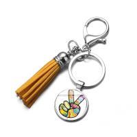Glas Karabiner mit Schlüsselringen, mit Zinklegierung, Zeit Edelstein Schmuck & unisex, keine, 25MM, verkauft von PC