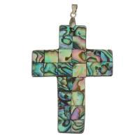 Messing Kreuz Anhänger, mit Seeohr Muschel, silberfarben plattiert, frei von Nickel, Blei & Kadmium, 39x53x2.50mm, Bohrung:ca. 4mm, verkauft von PC