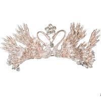 Krone, Zinklegierung, mit Kristall & Kunststoff Perlen, plattiert, Hochzeitsgeschenk & für Frau, goldfarben, frei von Nickel, Blei & Kadmium, 130x70mm, verkauft von PC