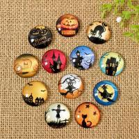 Glas Cabochons, mit Papier, Zeit Edelstein Schmuck & Halloween Schmuck & verschiedene Größen vorhanden & flache Rückseite, gemischte Farben, 200PCs/Tasche, verkauft von Tasche