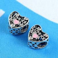 Zinklegierung Herz Perlen, plattiert, Emaille, Silberfarbe, frei von Nickel, Blei & Kadmium, 12*11mm, Bohrung:ca. 5mm, 2Taschen/Menge, 10PCs/Tasche, verkauft von Menge