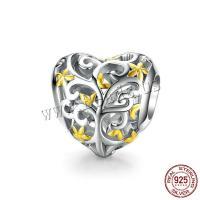 925 Sterling Silber Perlen, 925er Sterling Silber, Herz, platiniert, DIY, 11x11mm, verkauft von PC