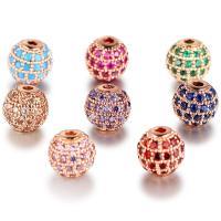 Befestigte Zirkonia Perlen, Messing, rund, plattiert, verschiedene Stile für Wahl & Micro pave Zirkonia, frei von Nickel, Blei & Kadmium, 8mm, Bohrung:ca. 2mm, 2PCs/Menge, verkauft von Menge
