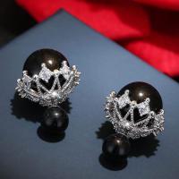 Messing Doppelseitigen Ohrstecker, mit kubischer Zirkonia & Kunststoff Perlen, Edelstahl Stecker, plattiert, für Frau, keine, frei von Nickel, Blei & Kadmium, 15*8mm, verkauft von Paar