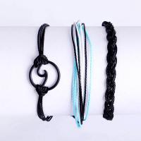 Nylonschnur Armband-Set, Armband, rund, für Frau, schwarz, frei von Nickel, Blei & Kadmium, 260mm,290mm, 3PC/setzen, verkauft von setzen
