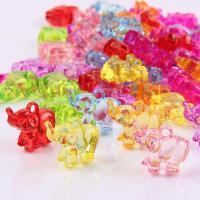 Acryl Anhänger, Elephant, Spritzgießen, gemischte Farben, 25x10x20mm, Bohrung:ca. 1mm, 2Taschen/Menge, ca. 250PCs/Tasche, verkauft von Menge