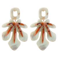Acryl Tropfen Ohrring, plattiert, für Frau, 41x68mm, verkauft von Paar