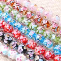 Inneren Blume-Lampwork-Beads, Lampwork, rund, innen Blume, keine, 14mm, Bohrung:ca. 1mm, 20PCs/Menge, verkauft von Menge