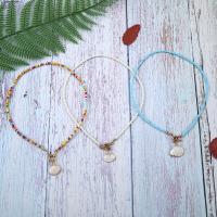 Glasperlen Halsketten, mit Muschel & Messing, plattiert, für Frau, keine, 40cm, verkauft per ca. 15.7 ZollInch Strang